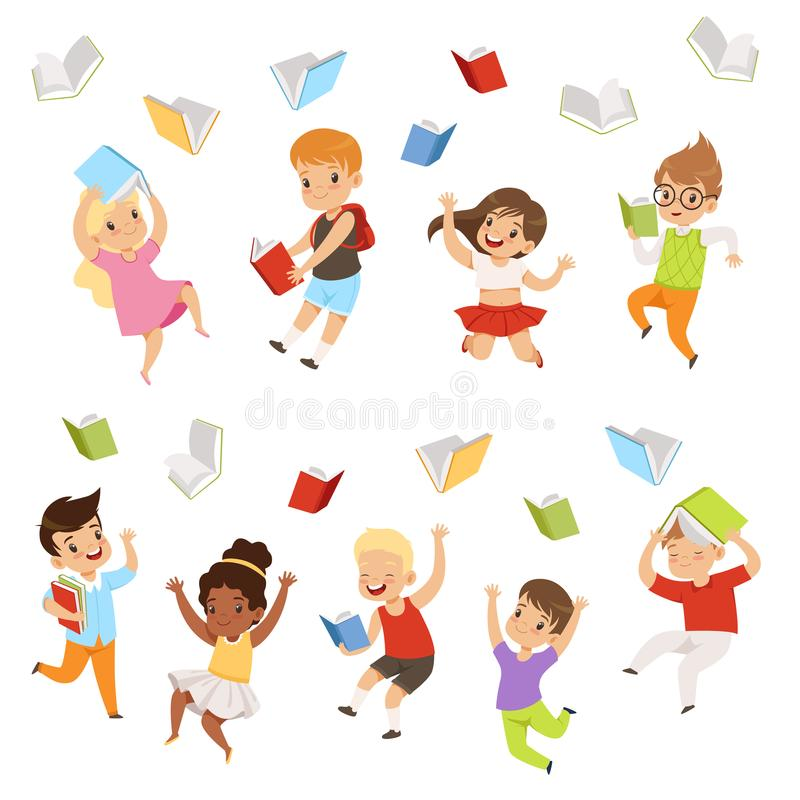 Flat vector set of cartoon children characters jumping and throwing books up in the air. Happy pupils of elementary. Set of cartoon children characters jumping royalty free illustration