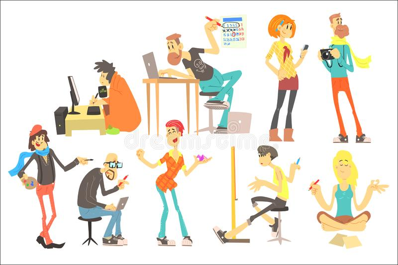 Flat vector set of cartoon creative people. Programmer, artist, illustrator, designer, photographer, writer, model. Set of cartoon creative people. Programmer royalty free illustration