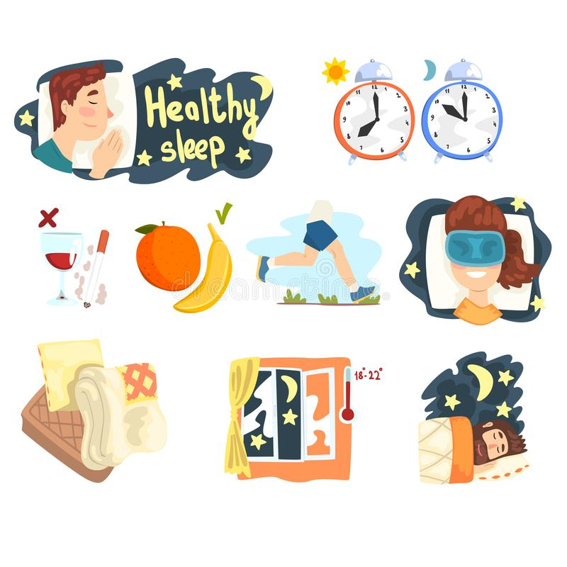 Flat vector set of cartoon infographic elements with tips and tricks for healthy sleep. Graphic design for presentation royalty free illustration