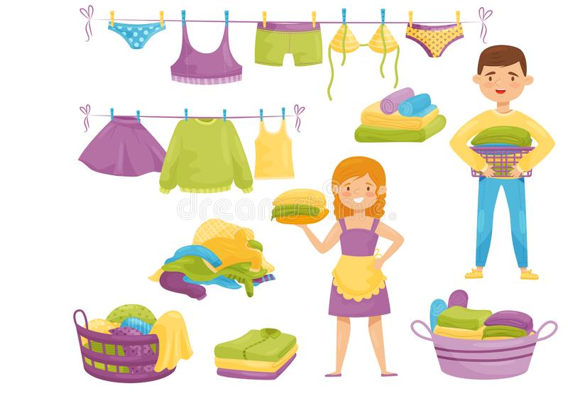 Flat vector set of cartoon laundry icons. Clean clothes on ropes, baskets with dirty garment, smiling housewife and boy stock illustration