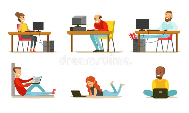 Flat vector set of cartoon peoples with laptops and computers. Men and women working in internet, playing video games or vector illustration