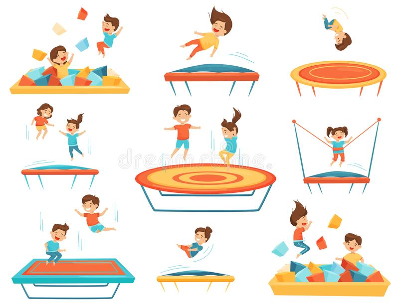 Flat vector set of children jumping on trampolines and playing in pool with soft paralon cubes. Kids leisure vector illustration