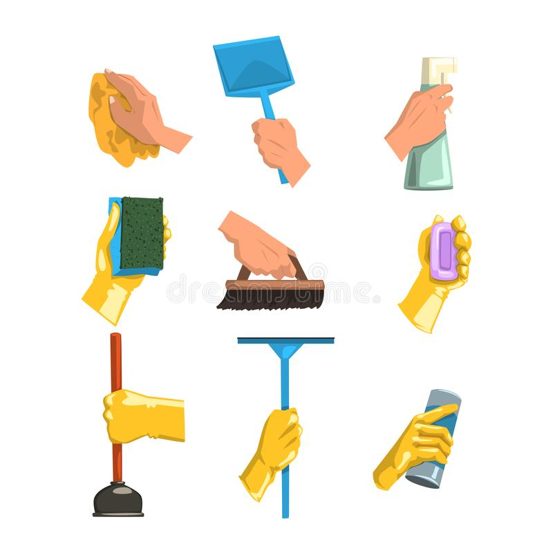 Flat vector set of cleaning supplies. Human hands holding rag, plastic scoop, bottles with liquid and powder, brush. Vector collection of cleaning supplies stock illustration