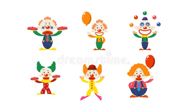 Flat vector set of clowns in different actions. Funny cartoon characters makeup on faces. Circus artists stock illustration