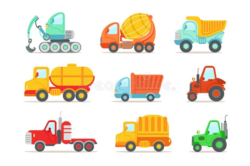 Flat vector set of colorful construction and cargo vehicles. Concrete mixing truck, large dumper, excavator, road. Set of colorful construction and cargo royalty free illustration