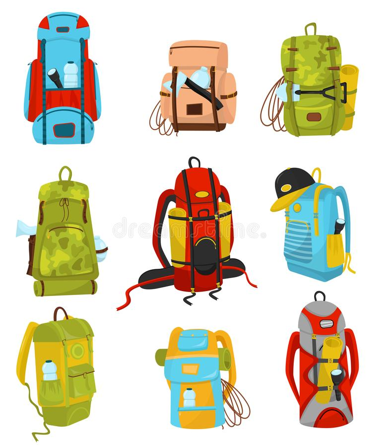 Flat vector set of colorful hiking backpacks with various equipment flashlights and camping mats, ropes and bottles of stock illustration