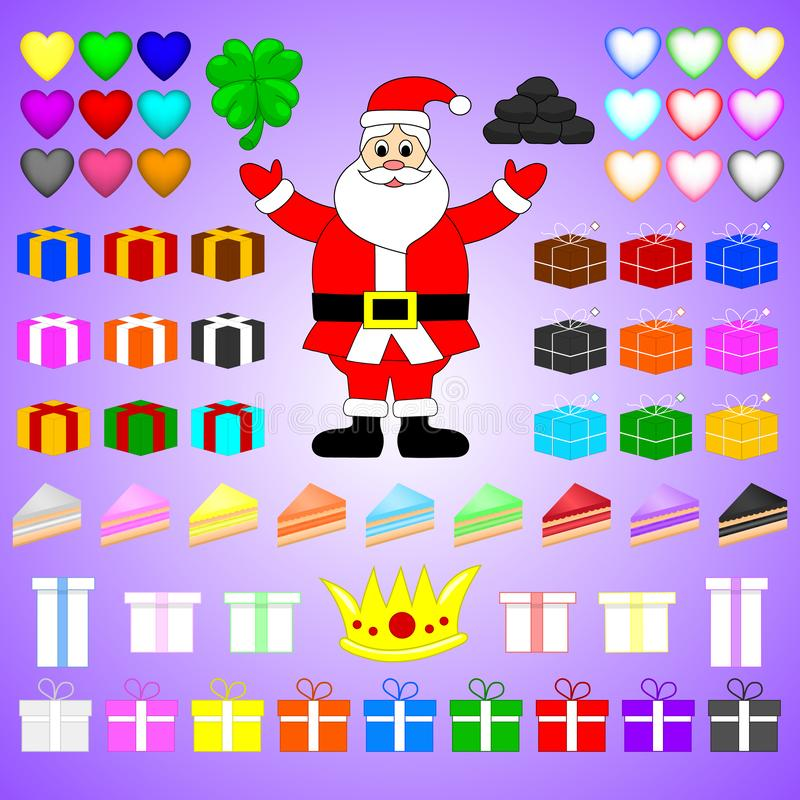 Flat Vector Set of Colorful Items Related to Christmas and New Year Theme. Santa Claus, Gifts, Cheesecakes, Hearts, Crown, Clover. stock illustration