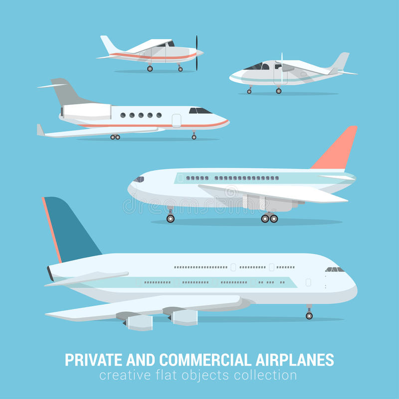 Flat vector set of commercial private airplanes: plane, aircraft. Flat style set of commercial and private airplanes. Business jet light motor plane medium-range stock illustration