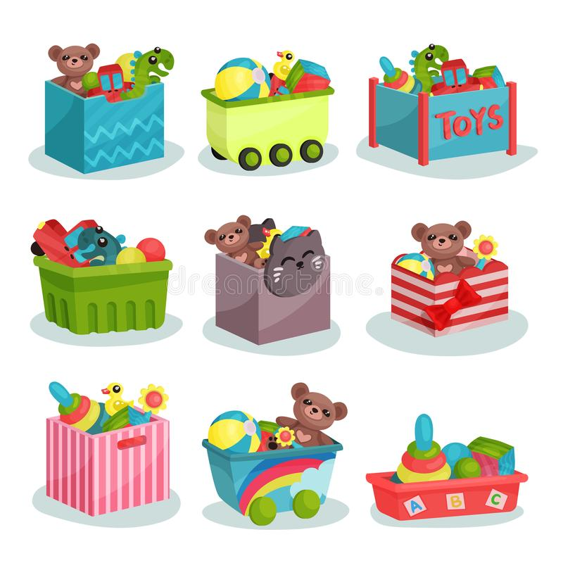 Flat vector set of containers full of children toys. Teddy bears and dinosaurs, rubber balls and ducks, colorful. Set of various plastic containers full of kids royalty free illustration