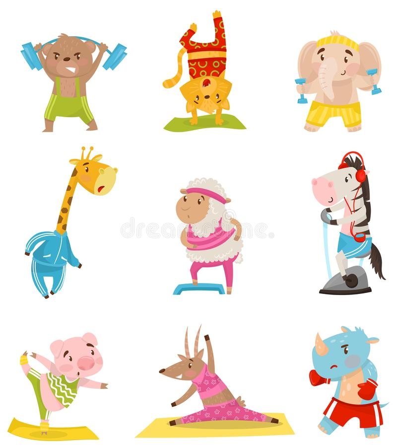 Flat vector set of cute humanized animals engaged in sports. Physical activity and healthy lifestyle. Funny cartoon stock illustration
