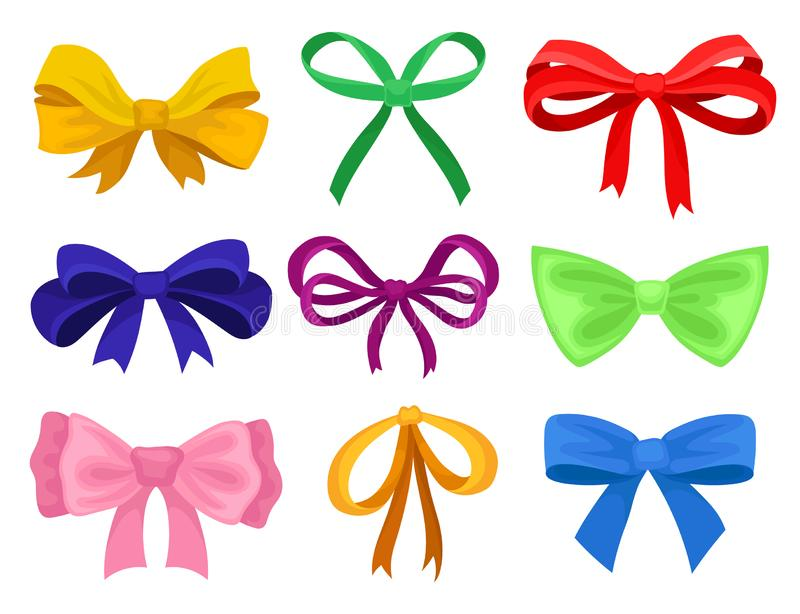 Flat vector set of different bows made of bright ribbons. Decorative elements for gift card, advertising poster or flyer. Set of 9 different bows made of bright stock illustration