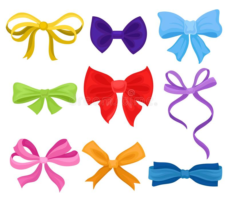 Flat vector set of different bows made of colorful ribbons. Decorative elements for poster, flyer or gift coupon royalty free illustration