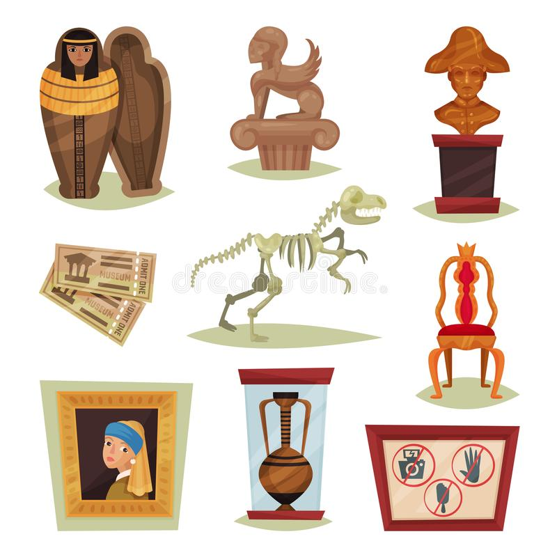Flat vector set of 9 different museum objects. Ancient exhibits, tickets, prohibition signs. Set of 9 different museum objects. Ancient exhibits, tickets stock illustration