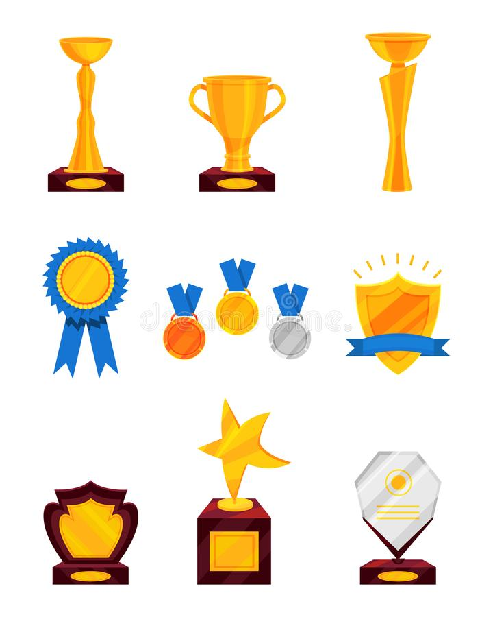 Flat vector set of different prizes. Shiny golden cups, golden rosette with ribbon, medals, glass award. Trophies for. Set of different prizes. Shiny golden cups vector illustration