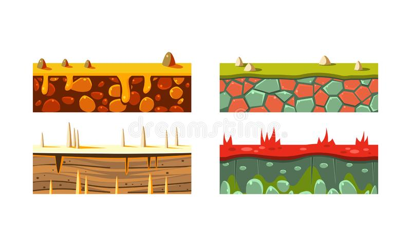 Flat vector set of 4 different seamless platforms for mobile game. Blocks with grass and sand. Gaming assets vector illustration
