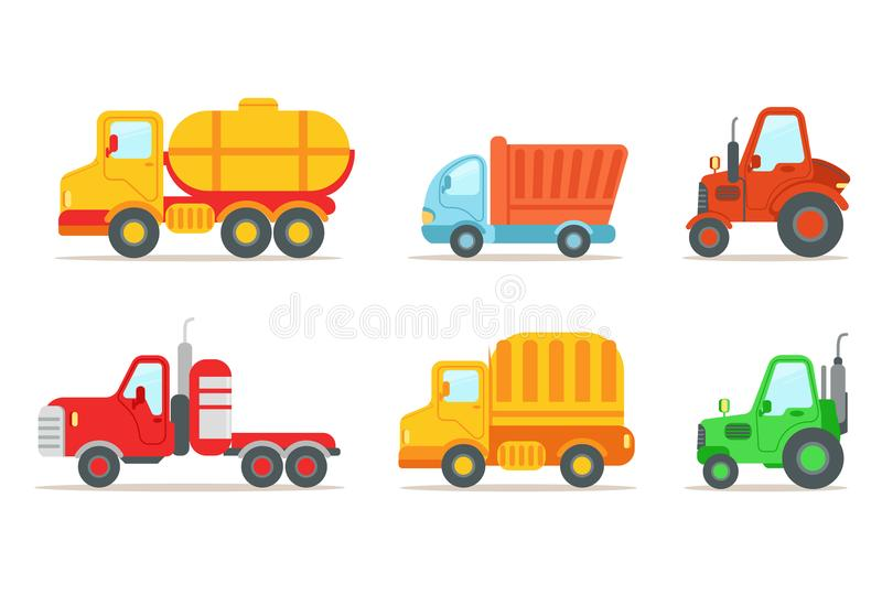 Flat vector set of different types of vehicles. Semi trailer, tractors, lorry, truck with tank. Transport or car theme stock illustration