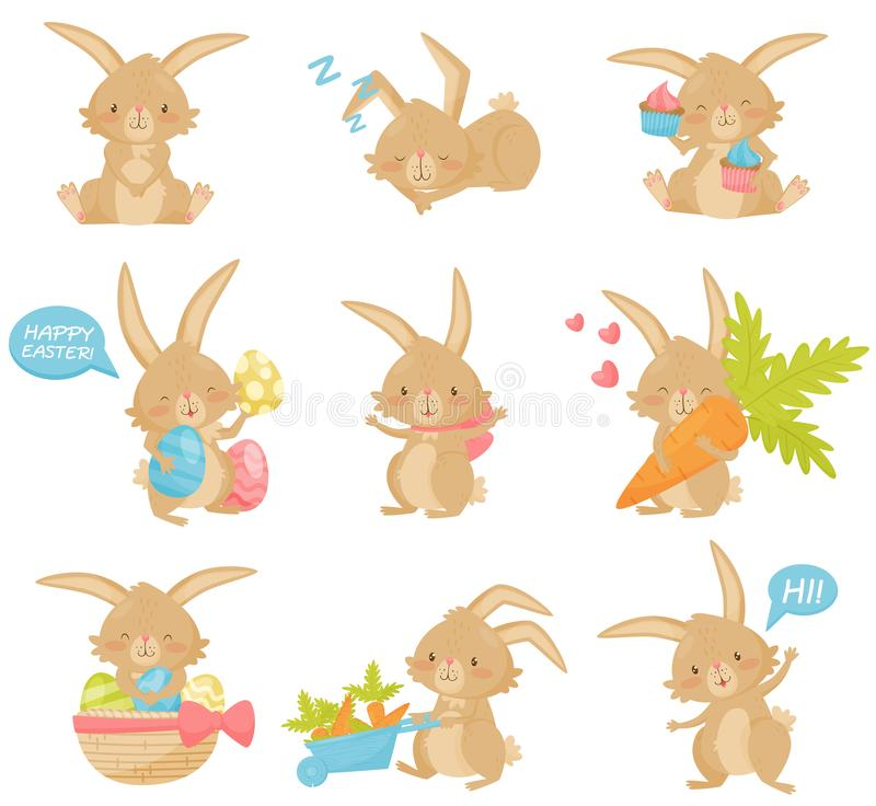 Flat vector set of Easter rabbit in different actions. Adorable brown bunny with long ears and short tail royalty free illustration
