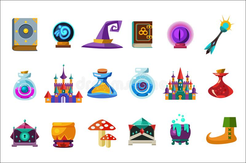 Flat vector set of fabulous items for mobile game. Book, magic ball, wizard hat, bottles with elixirs, castle, cauldrons vector illustration