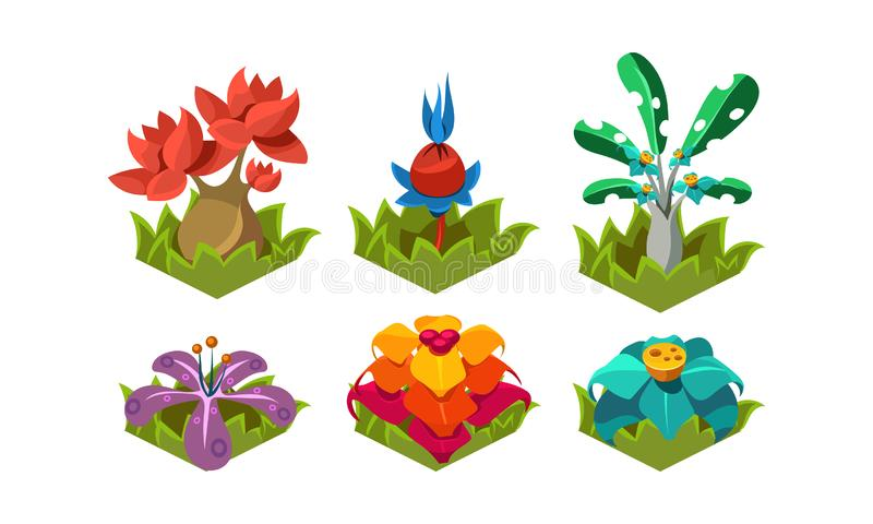 Flat vector set of fantasy plants. Tropical trees and flowers. Nature landscape elements for computer or mobile game vector illustration