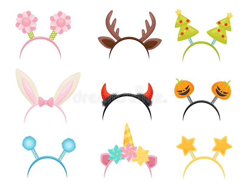 Flat vector set of festive hair hoops. Cute head accessories for holiday parties. Attributes of costumes stock illustration