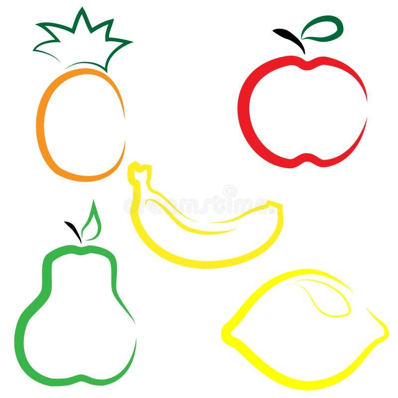 Flat vector set of fruits vector illustration
