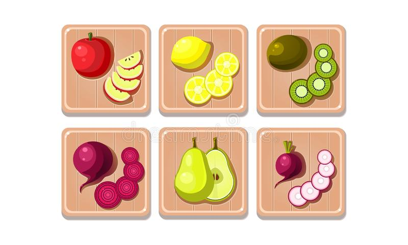 Flat vector set of fruits and vegetables on wooden boards. Sweet apple, lemon, kiwi and pear. Ripe beetroot and radish. Collection of fruits and vegetables on stock illustration
