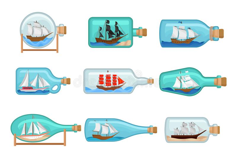 Flat vector set of glass bottles with ships inside. Sailing crafts. Miniature models of marine vessels. Hobby and sea stock illustration