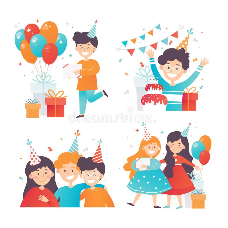 Flat vector set of happy kids celebrating Birthday. Boys and girls in party hats. Gift boxes and glossy air balloons royalty free illustration