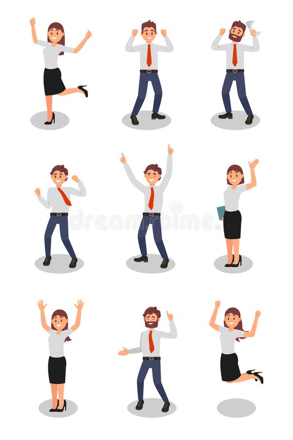 Flat vector set of happy office workers in different actions. Young girls and guys in formal outfit. Young businessmen. Set of happy office workers in different vector illustration