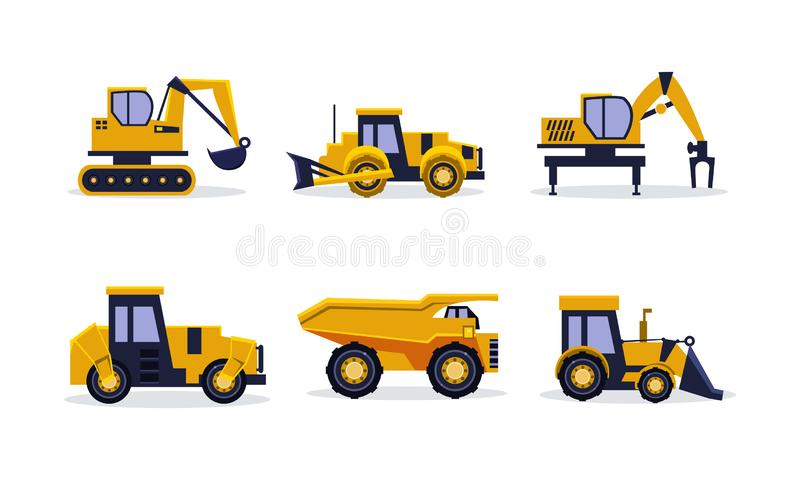 Flat vector set of heavy machinery for building. Construction equipment. Yellow excavator, tractor, dump truck, backhoe. Set of heavy machinery for building royalty free illustration