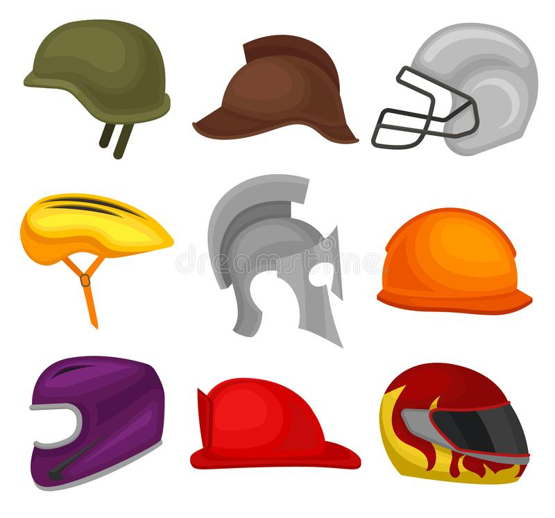 Flat vector set of 9 helmets. Protective headgear for soldier, horse rider, football player, biker, knight, builder and stock illustration