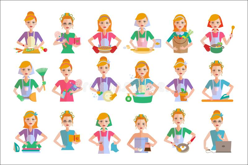 Flat vector set of housewife icons. Woman doing housework cooking, shopping, taking care of baby, cleaning, ironing. Set of housewife icons. Woman doing royalty free illustration