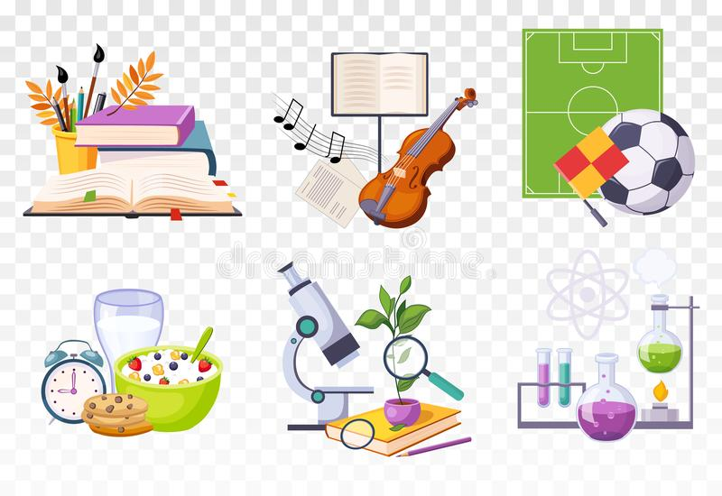 Flat vector set of icons presenting different school subjects. Art and music, sport, biology and chemistry. Tasty. Set of icons presenting different school vector illustration