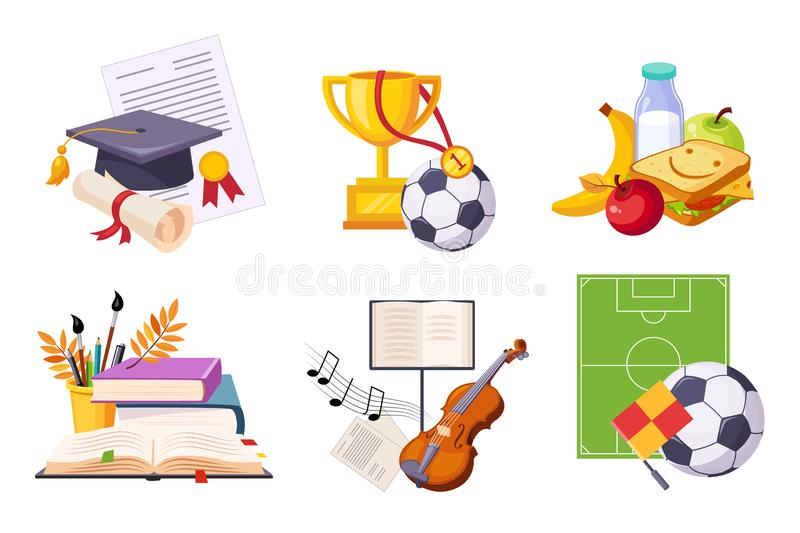 Flat vector set of icons presenting different school subjects. Art and music, sport, biology and chemistry. Tasty. Set of icons presenting different school stock illustration