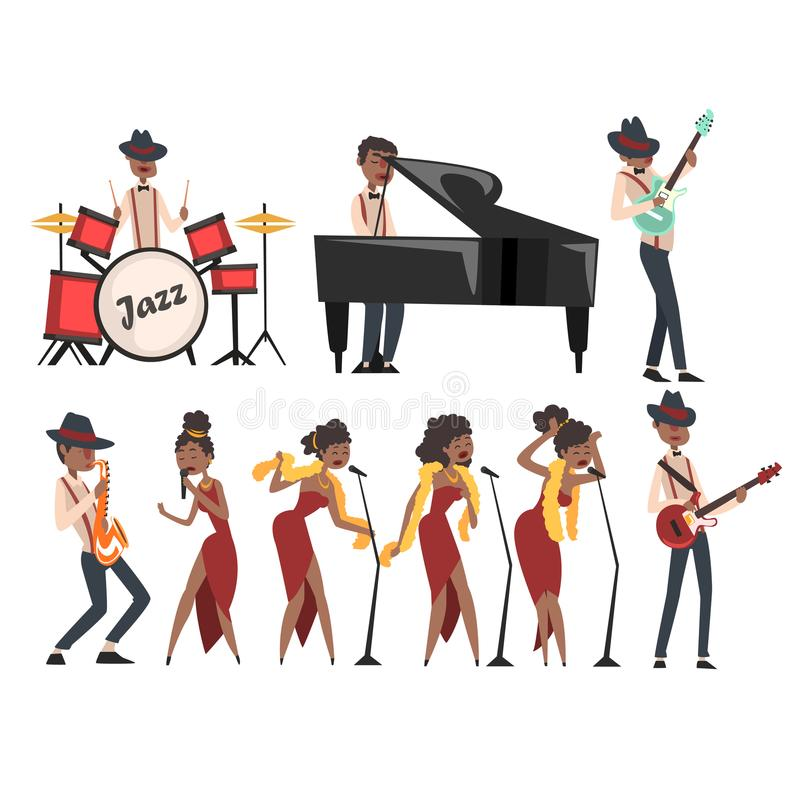Flat vector set of jazz artists characters isolated on white. Black man playing drums, grand piano, electric guitar, and stock illustration