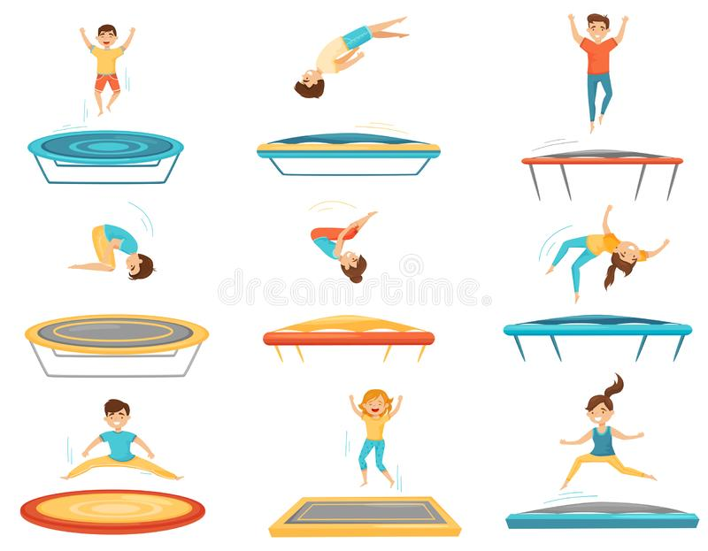 Flat vector set of kids jumping on trampolines. Happy boys and girls having fun. Active leisure. Children recreation. Set of kids jumping on trampolines. Happy vector illustration