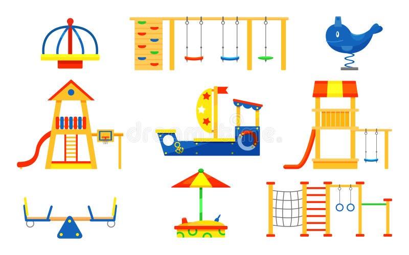 Flat vector set of kids playground elements. Carousels, slides, ladders, wooden sandbox. Play equipment for active. Set of kids playground elements. Carousels royalty free illustration