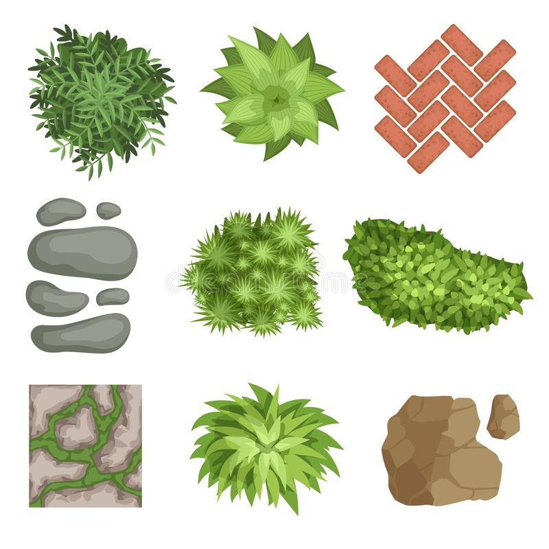 Flat vector set of landscape elements. Green plants, stones, different types of pathway covers. Top view. Collection of landscape elements. Various green plants vector illustration