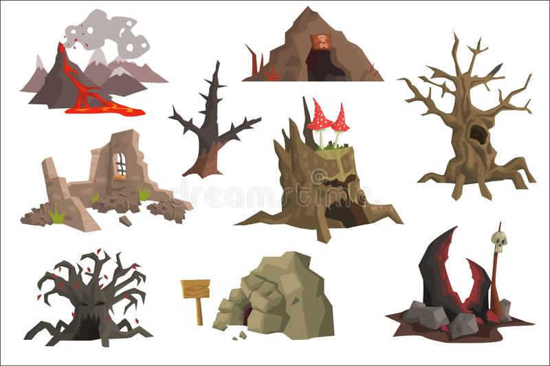 Flat vector set of landscape elements. Volcano with hot lava, ruins, swamp, old trees, cave, scary stump with mushrooms. Set of cartoon landscape elements royalty free illustration