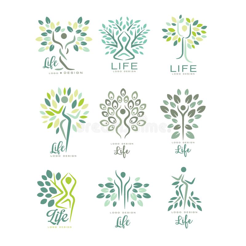 Flat vector set of life logo templates with silhouettes of human and green leaves. Abstract emblems for yoga studio vector illustration