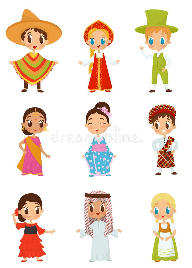 Flat vector set of little kids in different national costumes. Boys and girls wearing traditional clothes royalty free illustration