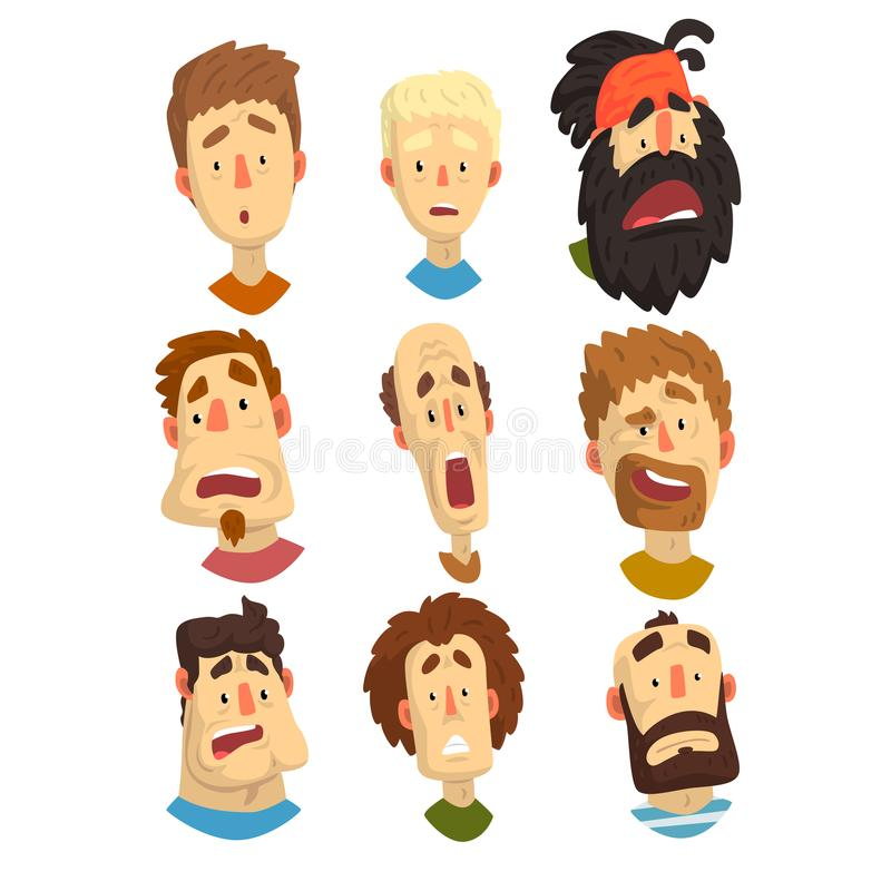 Flat vector set of male portraits with surprised and shocked facial expressions. Young guys and adult men. Cartoon. Set of male portraits with surprised and stock illustration