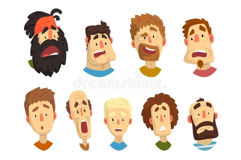 Flat vector set of male portraits with surprised and shocked facial expressions. Young guys and adult men. Cartoon. Set of male portraits with surprised and royalty free illustration