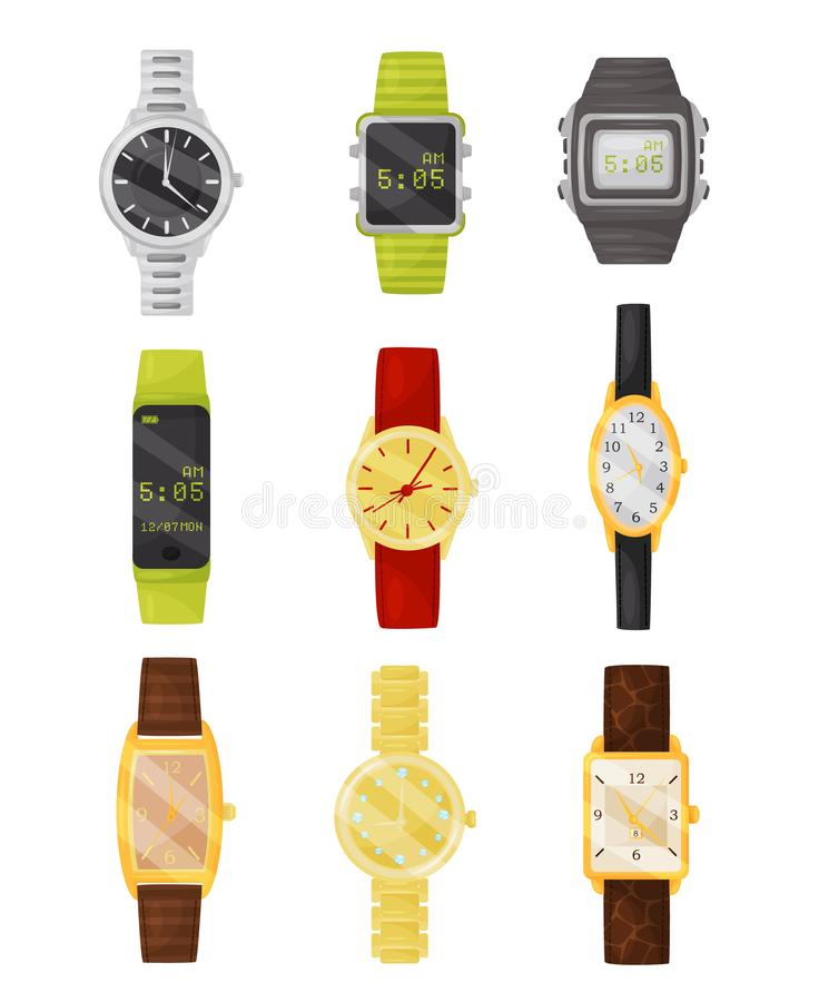 Flat vector set of mechanical and digital wrist watches. Stylish accessory. Electronic devices vector illustration