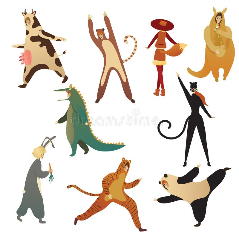 Flat vector set of men and women in animal costumes. Outfits for Halloween party. Cartoon people characters. Set of men and women in animal costumes. Outfits for vector illustration