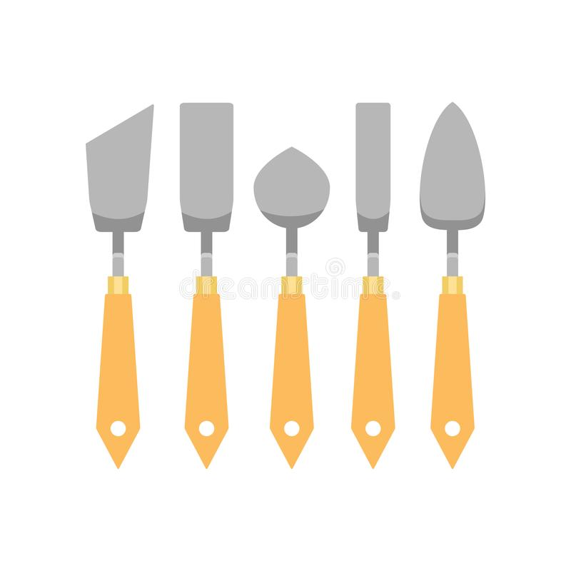 Flat vector set of metallic trowels different shapes for archaeological excavations. Working tools with wooden handles. Set of metallic trowels different shapes royalty free illustration