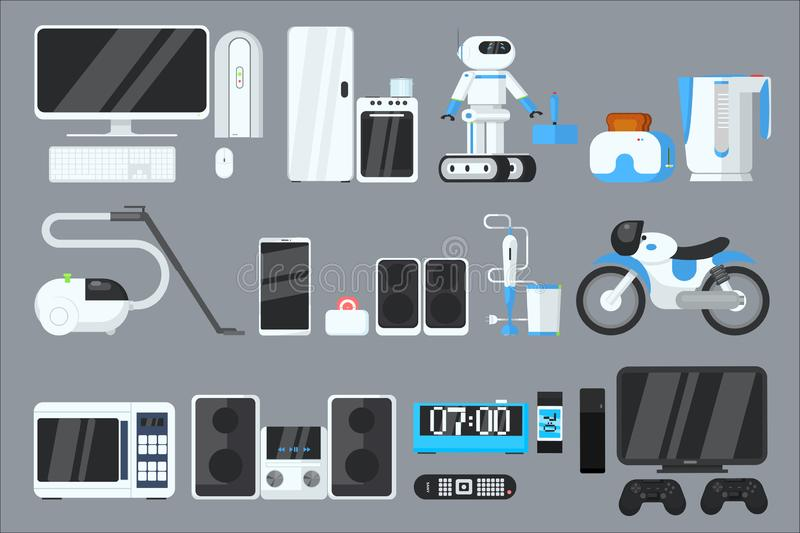 Flat vector set of modern devices and appliances. Computer, refrigerator, oven, microwave, robot, toaster, vacuum stock illustration