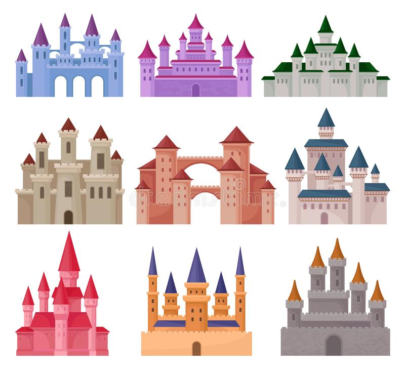 Free Flat Vector Set Of Large Fairy Tale Castles. Medieval Palaces With High Towers And Conical Roofs Stock Photography - 127567042
