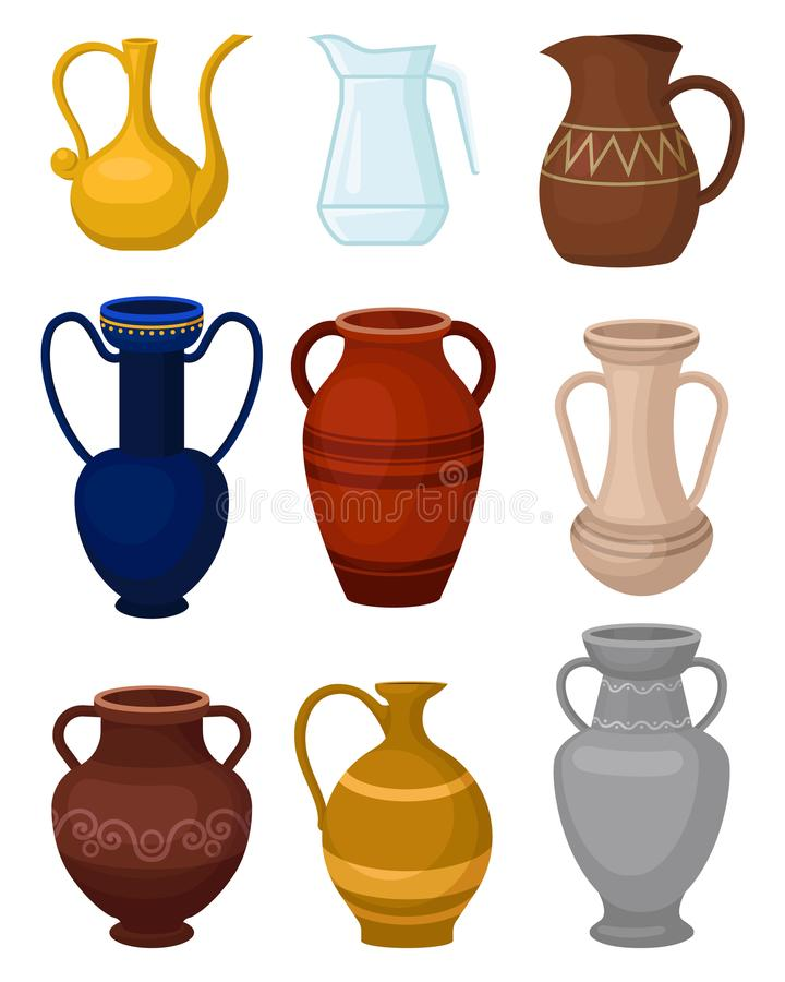 Free Flat Vector Set Of Various Jugs. Glass Pitcher For Water. Antique Ceramic Vases. Large Vessels For Liquids. Decorative Royalty Free Stock Photos - 119208268