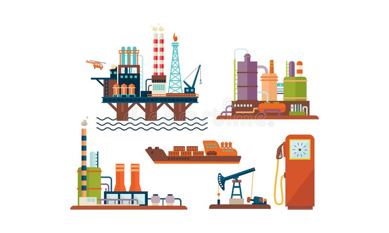 Flat vector set of oil and gas production industry icons. Oil platform, ship, factory buildings and fuel dispenser stock illustration
